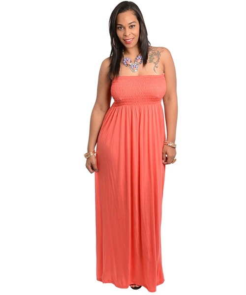 15f45750d89 Coral Smocked Tube Top Maxi Dress - Plusylicious