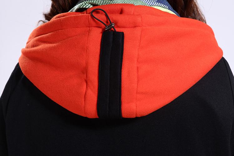 Plus Size Zipper Jacket With Contrast Hood4