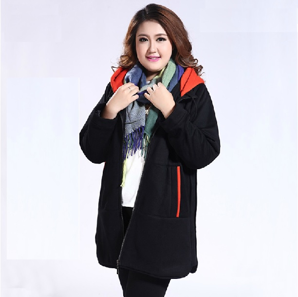 Plus Size Zipper Jacket With Contrast Hood