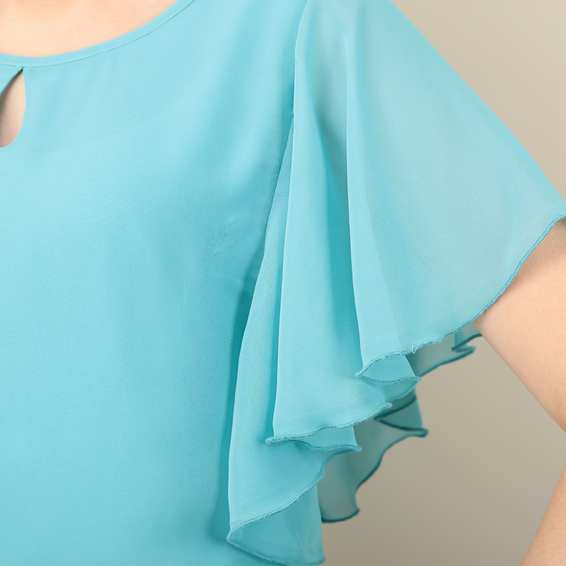 Cutout Neck Flowy Flutter-Sleeved Blouse