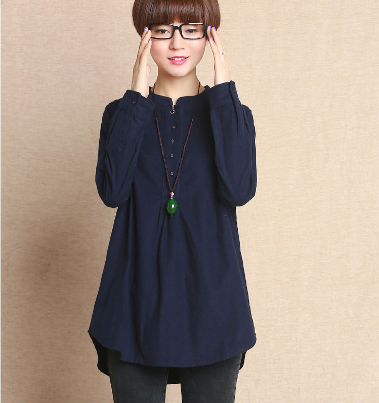 Plus Size Cotton Mandarin Collar Shirt