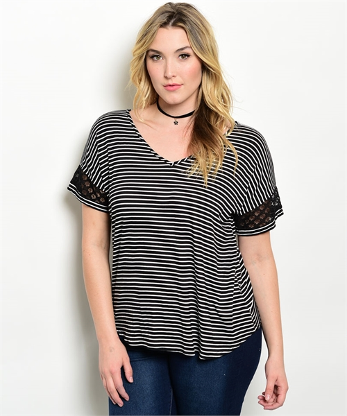 Black Ivory Stripe Top With Cross Back