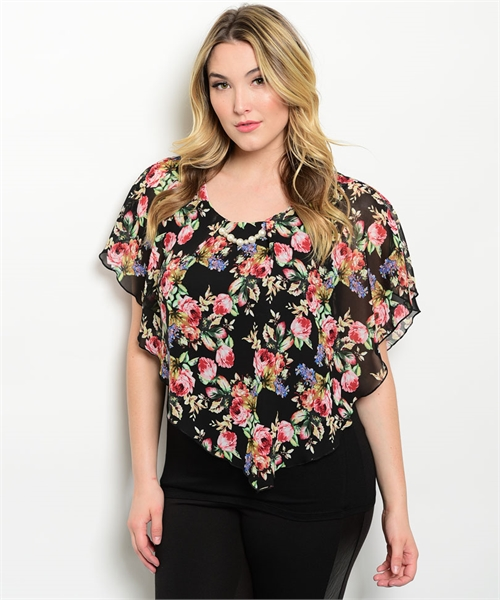 Plus Size Black Floral Layered Top