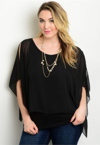 04a09b5a7daa2 Poncho Inspired Layer Top With Cold Shoulder