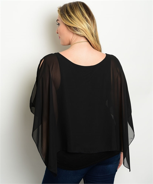 Plus Size Poncho Inspired Top With Cold Shoulder
