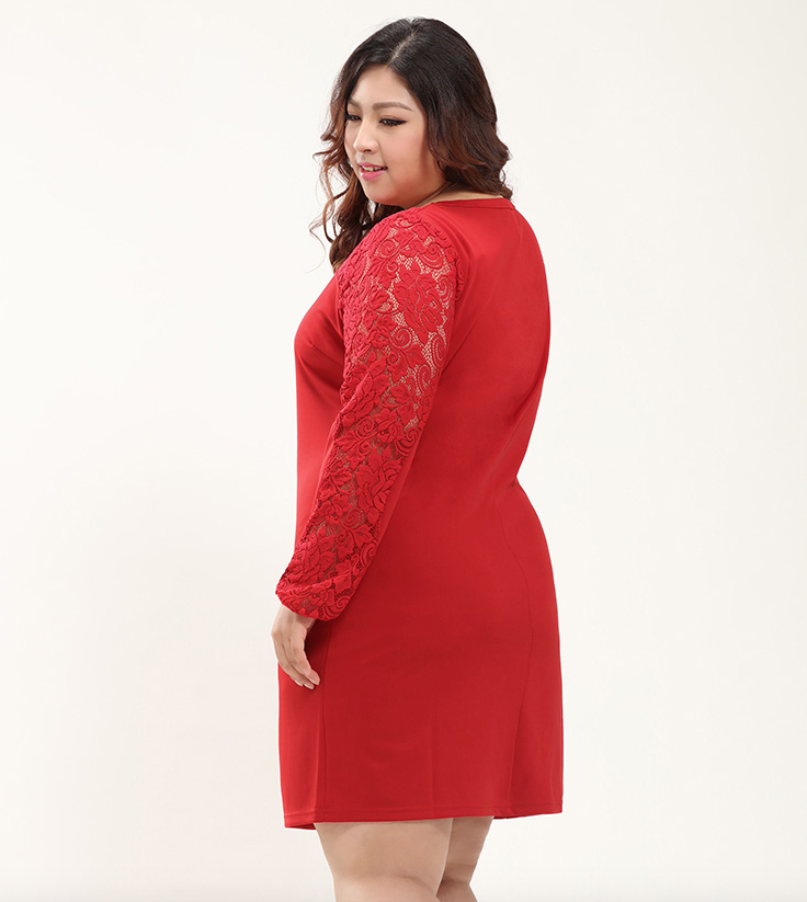 Plus Size Sweetheart Lace Panel Shift Dress