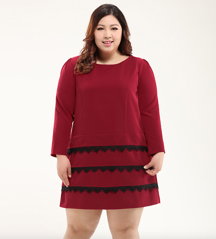 Plus Size Lace Trims Long Sleeves Shift Dress