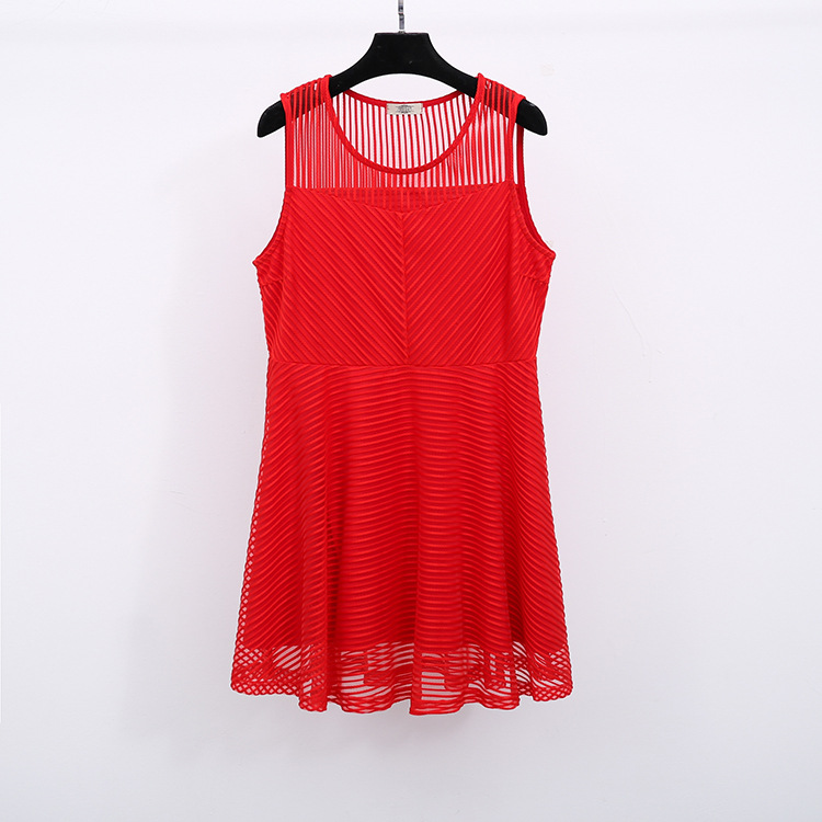Plus Size Striped Honeycomb-Mesh Dress