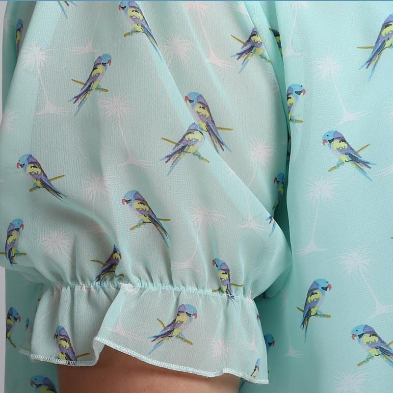 Plus Size Cute Parrot Print Chiffon Layer Blouse (Bigger Cutting)