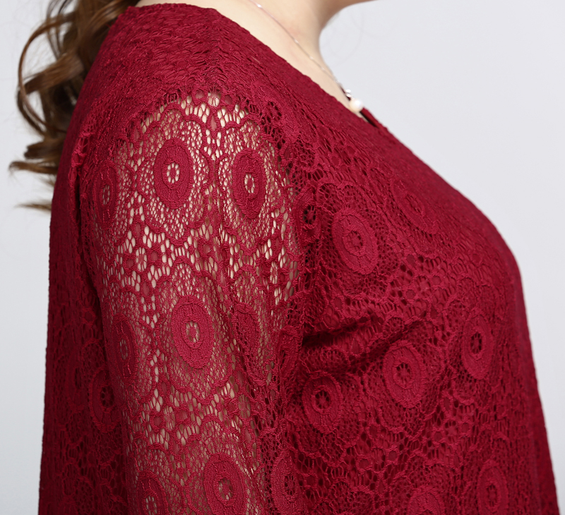Plus Size Long Sleeves Lace Overlay Blouse (Bigger Cutting)
