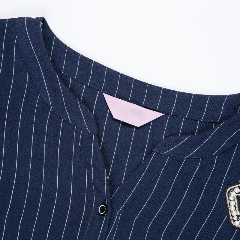 Plus Size Embellished Alphabet Patches Stripy Blouse