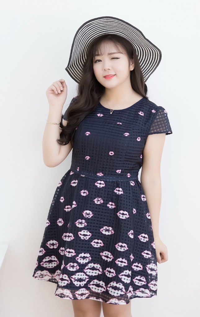 Plus Size Lovely Lips Print Mesh Check Dress