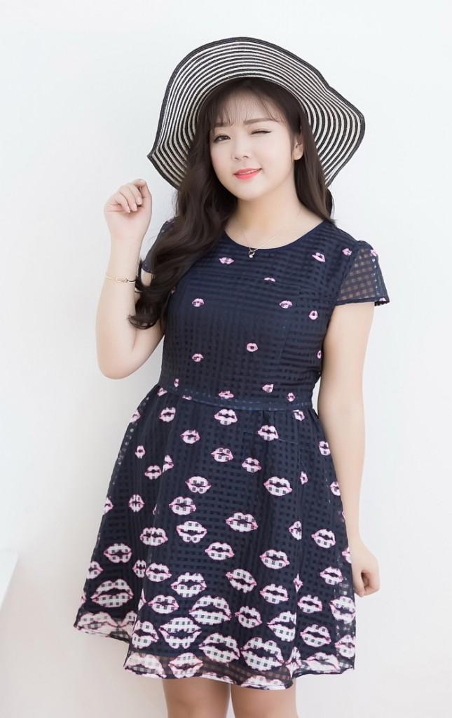 Plus Size Lovely Lips Print Mesh Check Dress