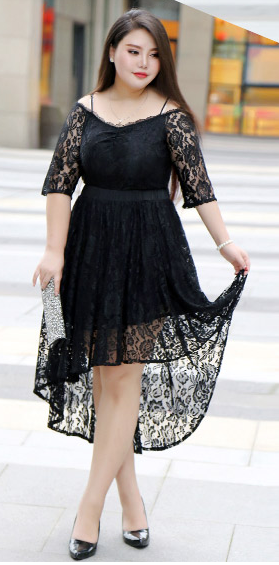 420dc0884b0 Stunning Black Plus Size Dress W  Detachable Dip Hem Skirt