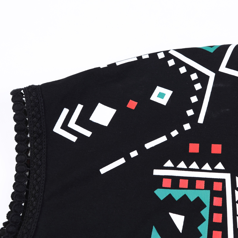 Chic Tribal Print Lace Trim Sleeves Top