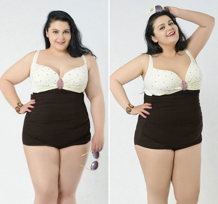 Plus Size Embellished Sweetheart Swimsuit