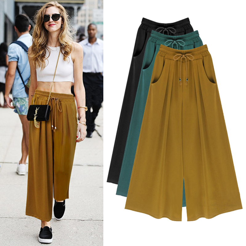 Elastic Waist Drawstring Wide Leg Pant With Pockets