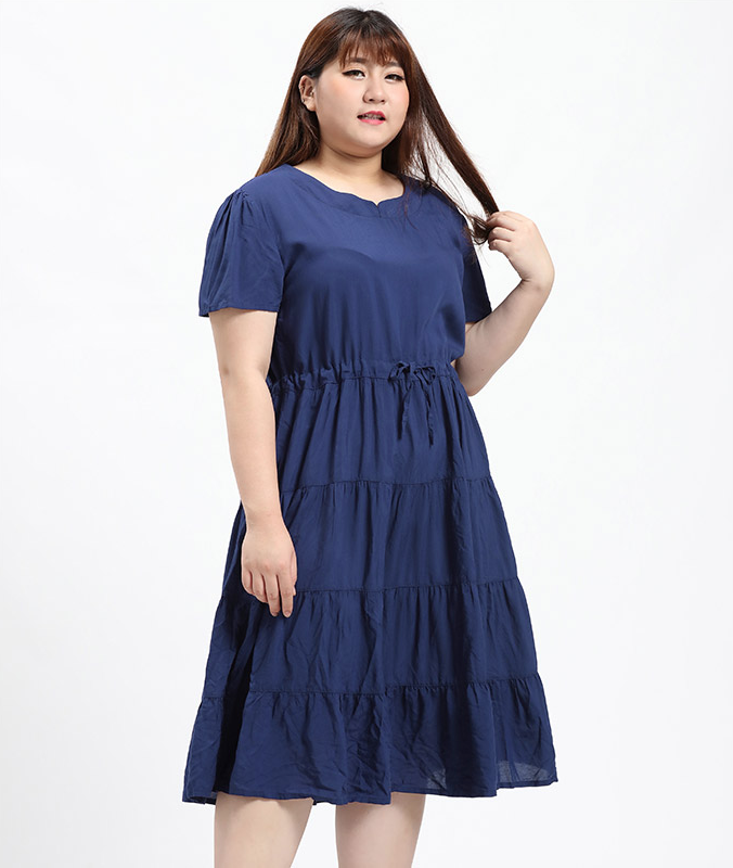 Plus Size Drawstring Tiered Maxi Dress