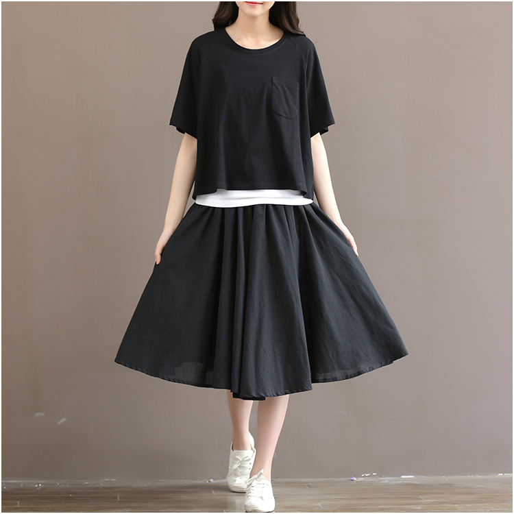 Plus Size Elastic Waistline Black Circle Skirt