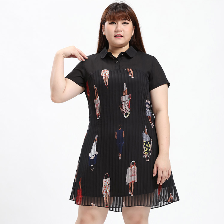 Plus Size Chic Girl Prints A-Line Collared Dress