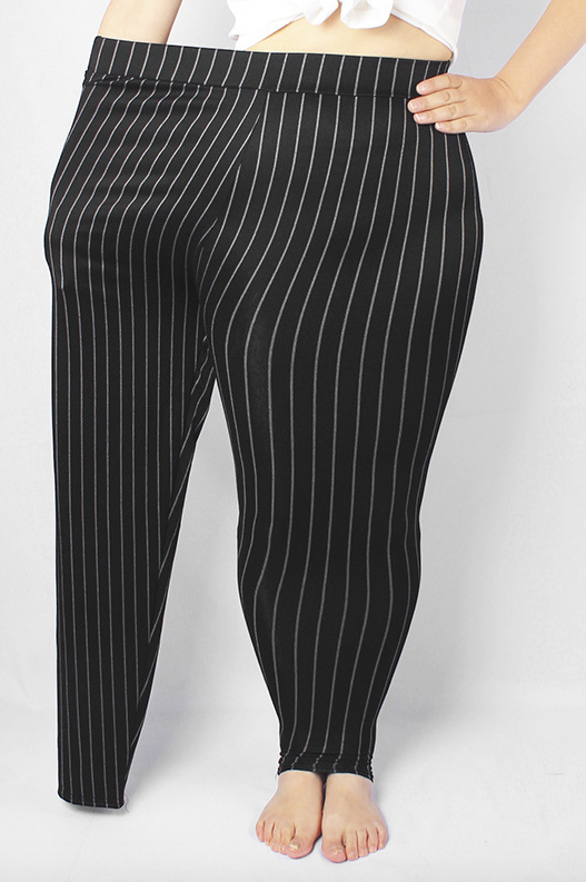 Plus Size Elastic Waist Striped Stretchy Pant