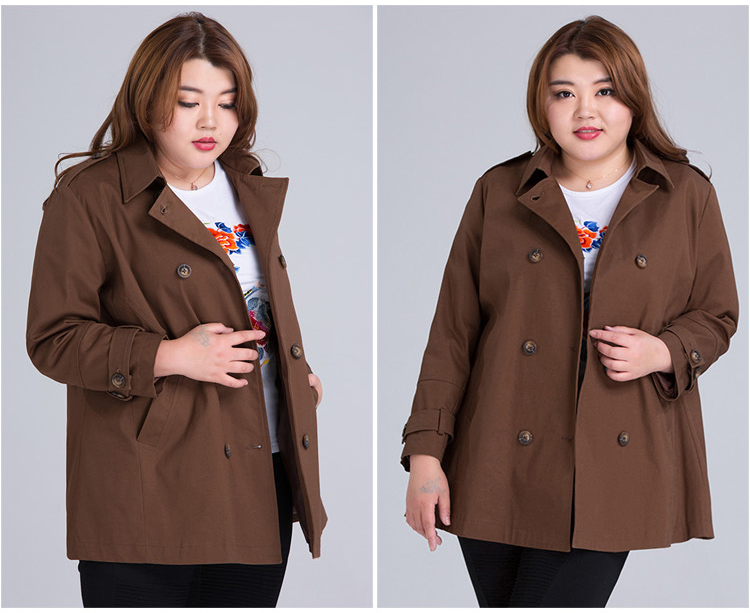 Plus Size Modern Cotton Trench Coat