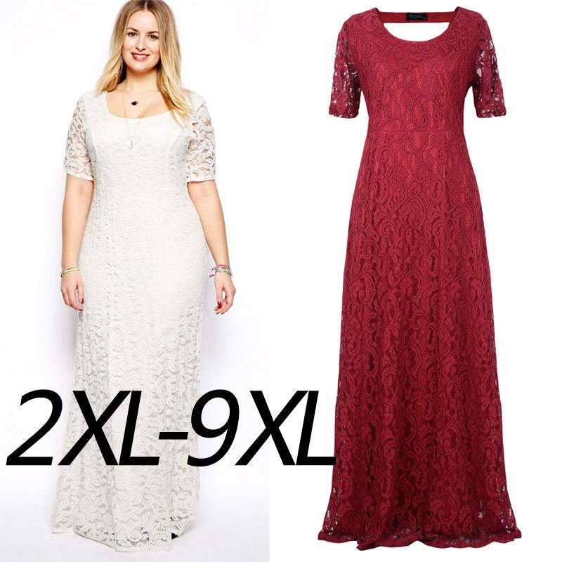 Plus Size Long Lace Maxi Dress With Cut-Out Back