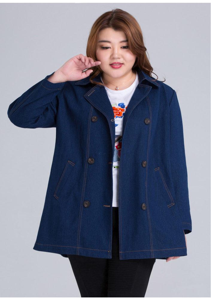 Plus Size Classic Denim Cotton Trench Coat