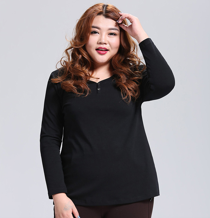 Plus Size Long Sleeves Cotton Tee