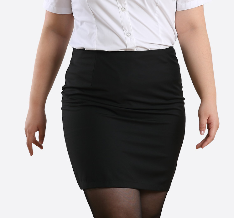 Plus Size Classic Black Pencil Skirt