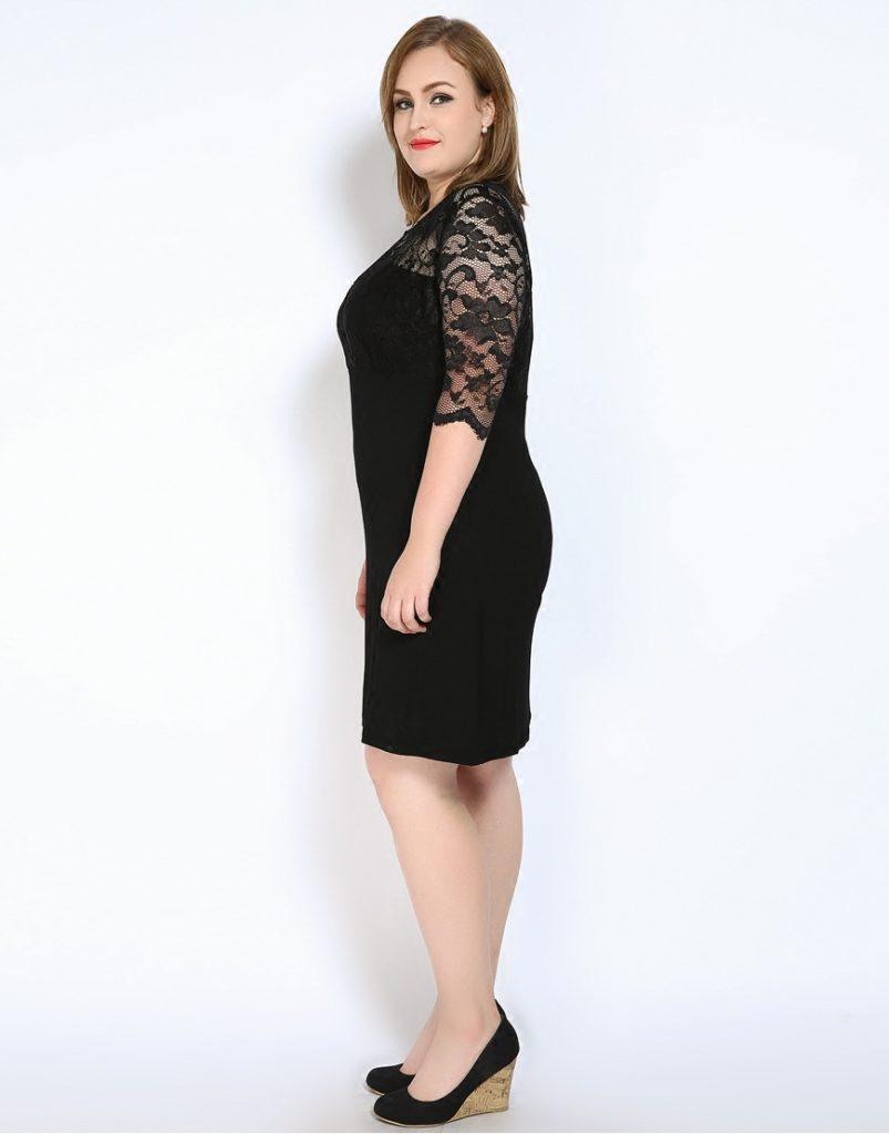 Black Lace Inset Plus Size Bodycon Dress