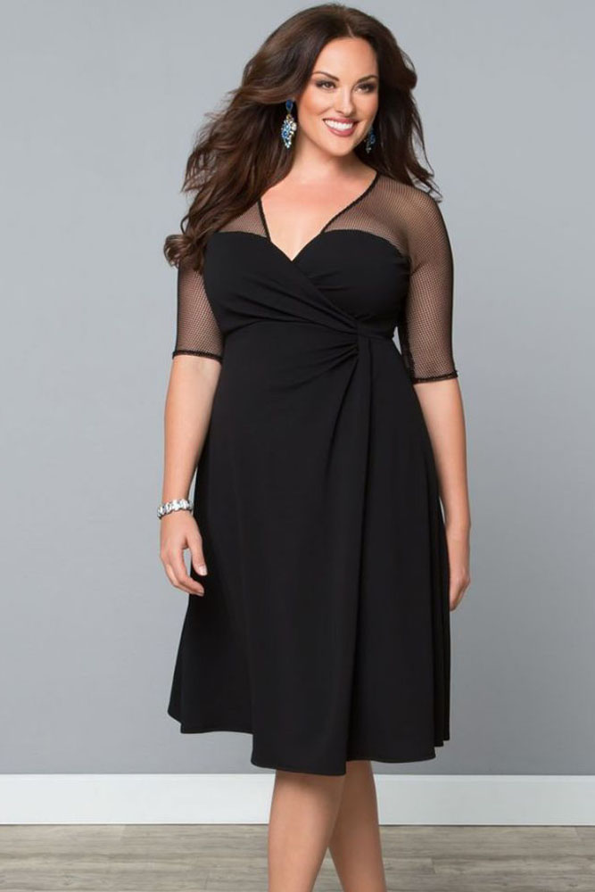 Plus Size Mesh Inset Sweetheart Wrap Dress