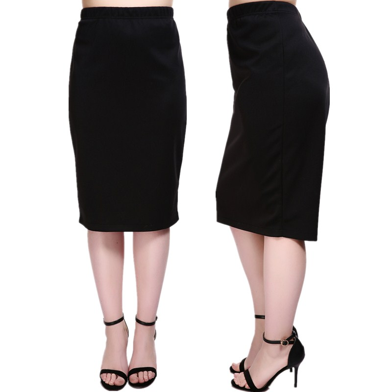 Plus Size High-Waist Ponte Pencil Midi Skirt