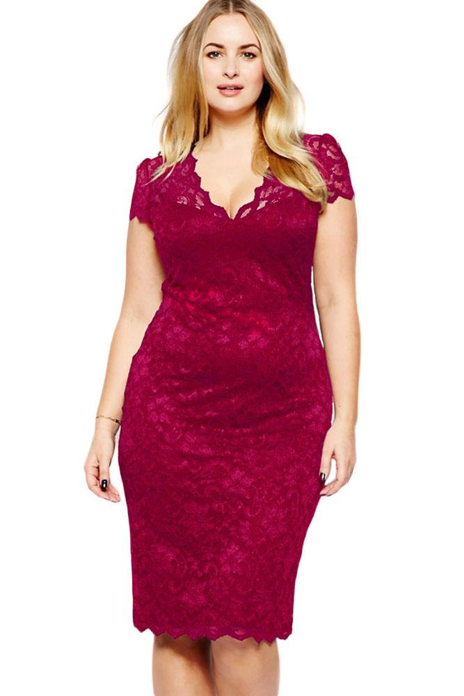Plus Size V-Front Lace Bodycon Dress