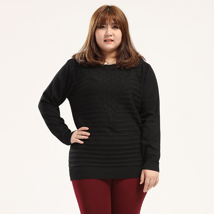 Plus Size Chic Texture Knitted Sweater