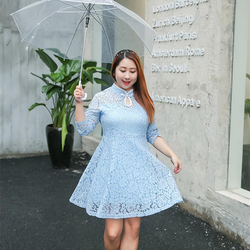 Plus Size Oriental Lace Cheongsam Dress