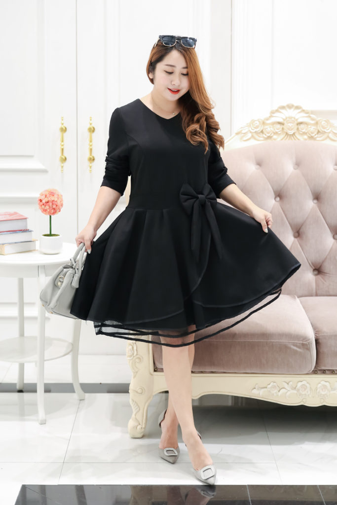 Sweet Plus Size Party Dress With Cute Ribbon Detail