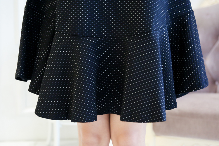 Sweet Polka Dot Plus Size Dress With Inset Necklace