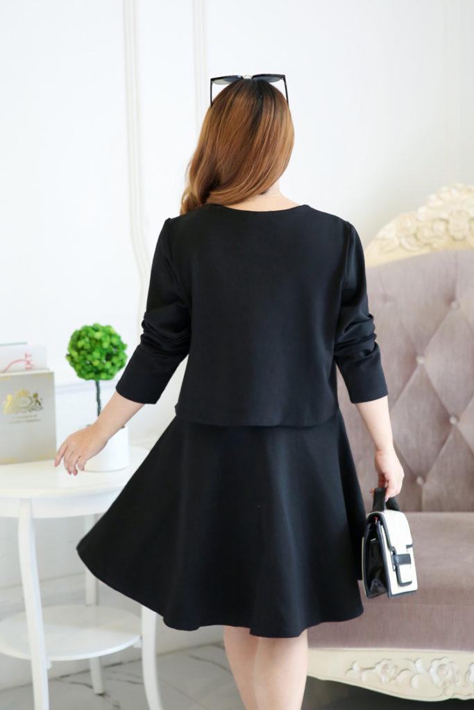 Sweet Feminine Plus Size Dress With Crop Jacket Set