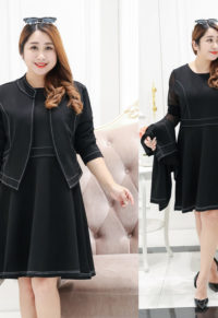 3fe47037b376 Plus Size Sheer Sleeve Dress With Open-Front Jacket Set