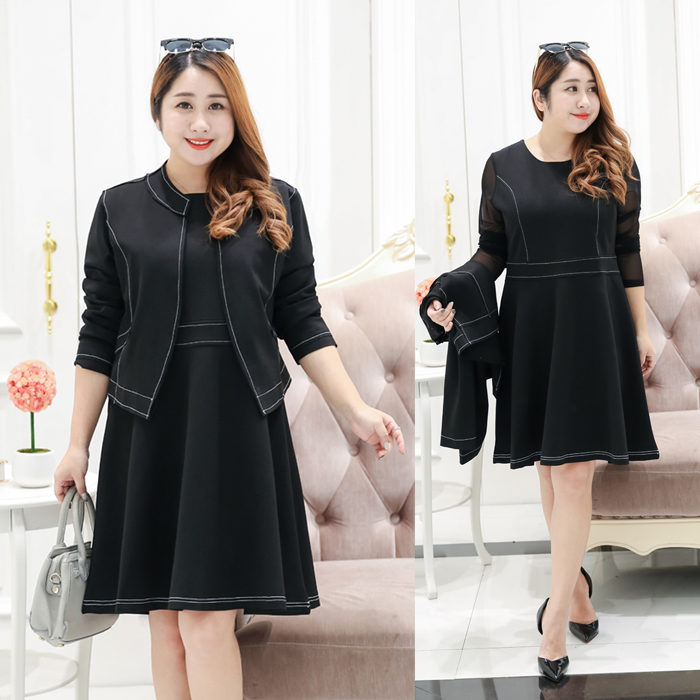 8f58fadb2e2 Plus Size Sheer Sleeve Dress With Open-Front Jacket Set - Plusylicious