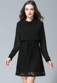 2d260b06605 Mock Two-Piece Plus Size Drawstring Shirt Dress
