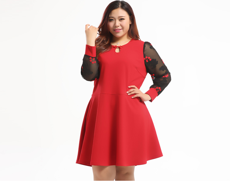 4b02fa88b52 Plus Size Sheer Sleeves Dress With Chinese Button - Plusylicious