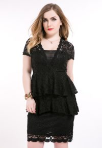 cf2d0ce707 Plus Size Lace Peplum Dress With Cut-Out Back