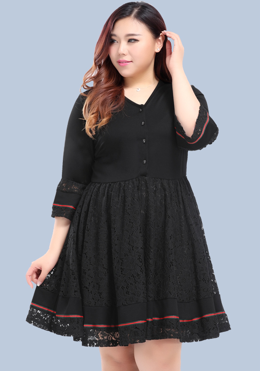 Plus Size Button Front Dress With Lace & Ribbon Trims Detail ...