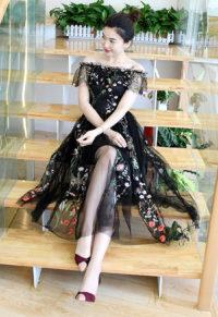 d188c0887b1 Exquisite Plus Size Embroidery Mesh Lace Off Shoulder Dress