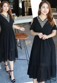 f793401613a Plus Size Embellished V-Neck Cold Shoulder Dress