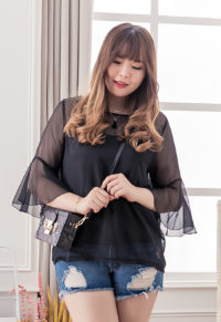 df12a42207 Simply Plus Size Blouse With Black Sheer Bell Sleeves