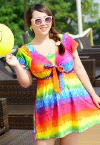 c460d18548 Cute Plus Size Tie Front Women Swimwear
