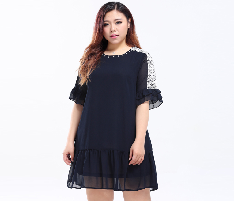 1f5129268b9 Plus Size Women Lace Panel Embellished Neck Dress - Plusylicious